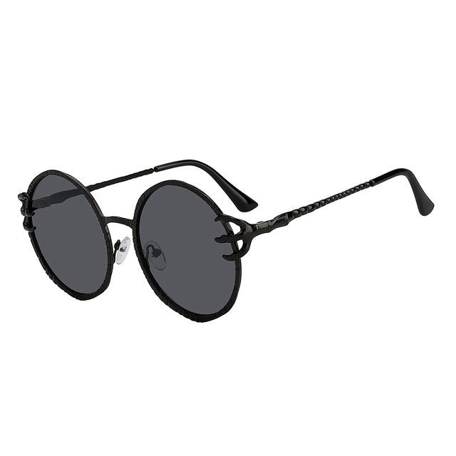 Round Metal Frame Abstract Design Sunglasses