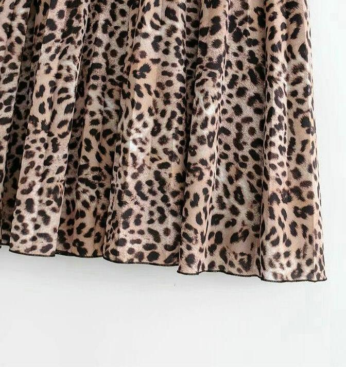 Drawstring Waist Leopard Print Pleated Midi Skirt