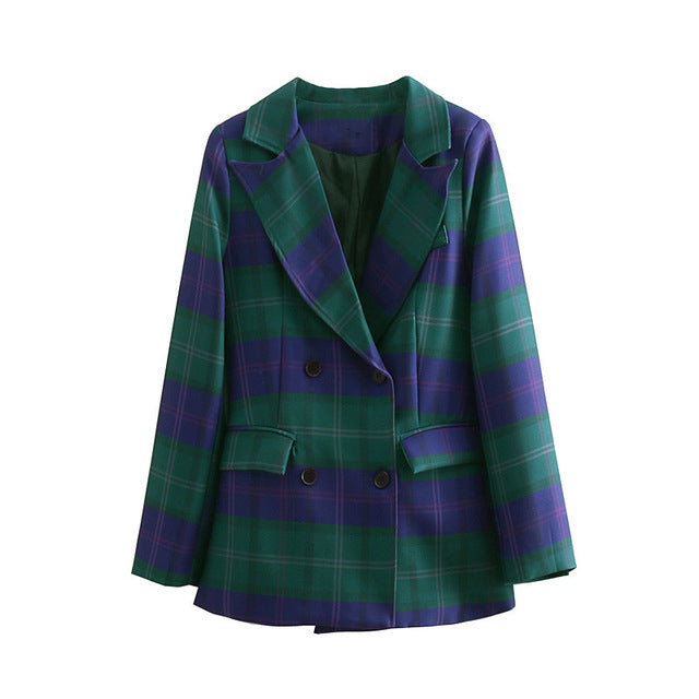 Green And Purple Checked Blazer