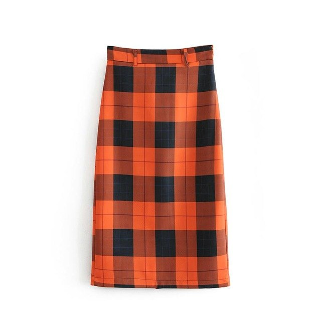 Orange Plaid Midi Skirt - buyandpossess