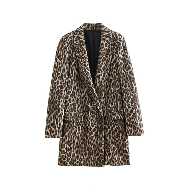 Leopard Print Wool Coat