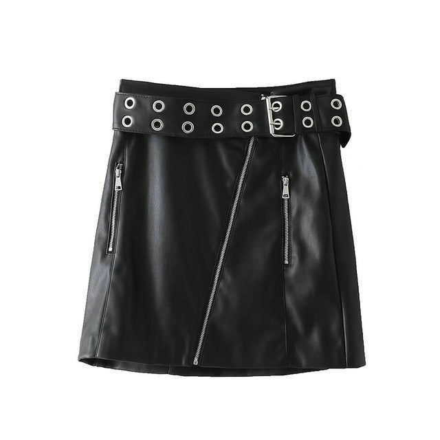Rivet Belt PU Mini Skirt