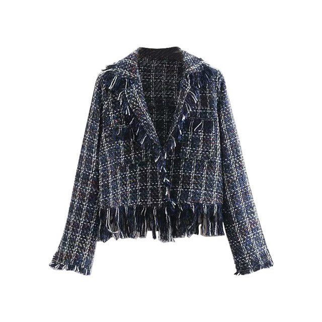 Frayed Navy Blue Short Jacket