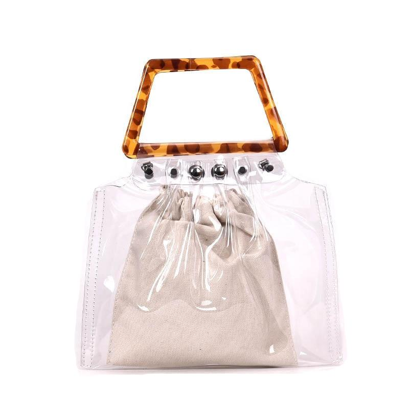 Transparent Shopper With Plastic Handle