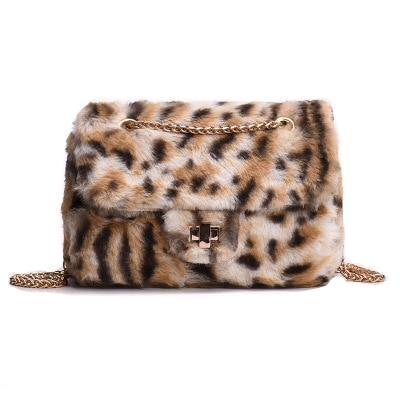 Animal Print Faux Fur Handbag With Chain