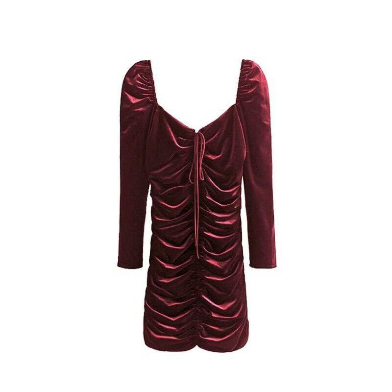 Velvet Square Neckline Party Dress