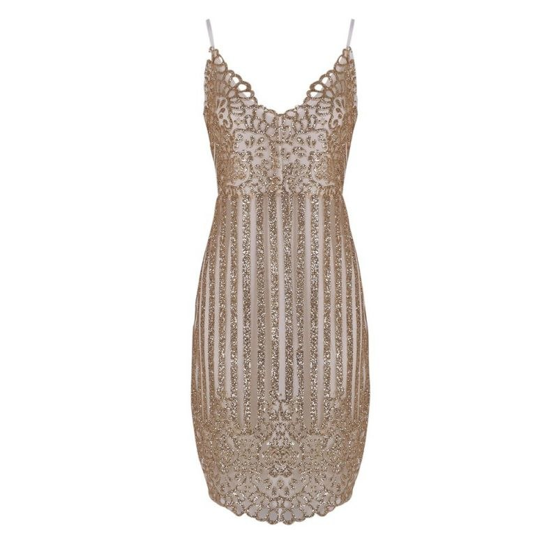 Gold V Neck Bodycon Party Dress