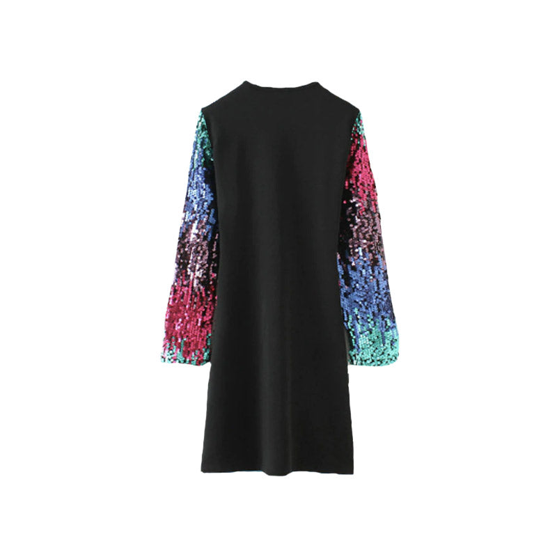 Rainbow Sequin Skater Dress
