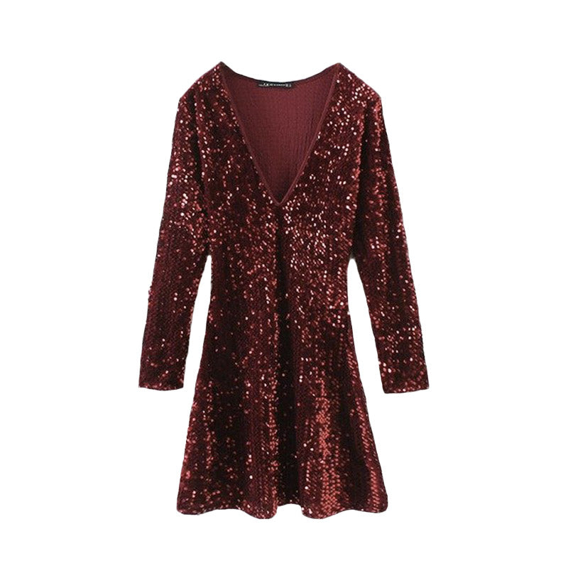 All-over Sequin Skater Dress