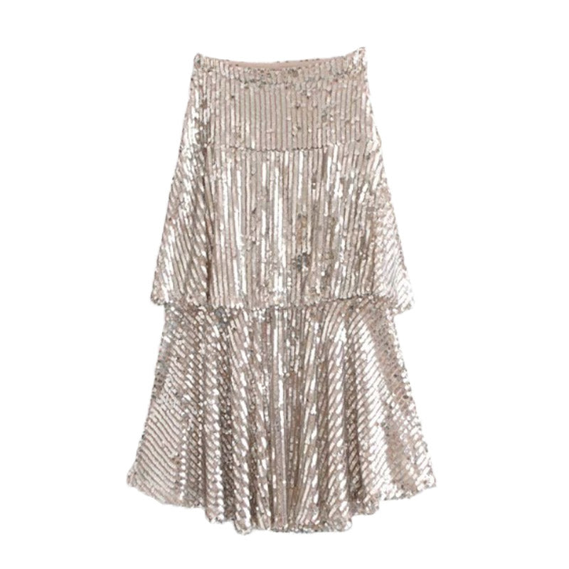 Sequin Ruffle Midi Skirt