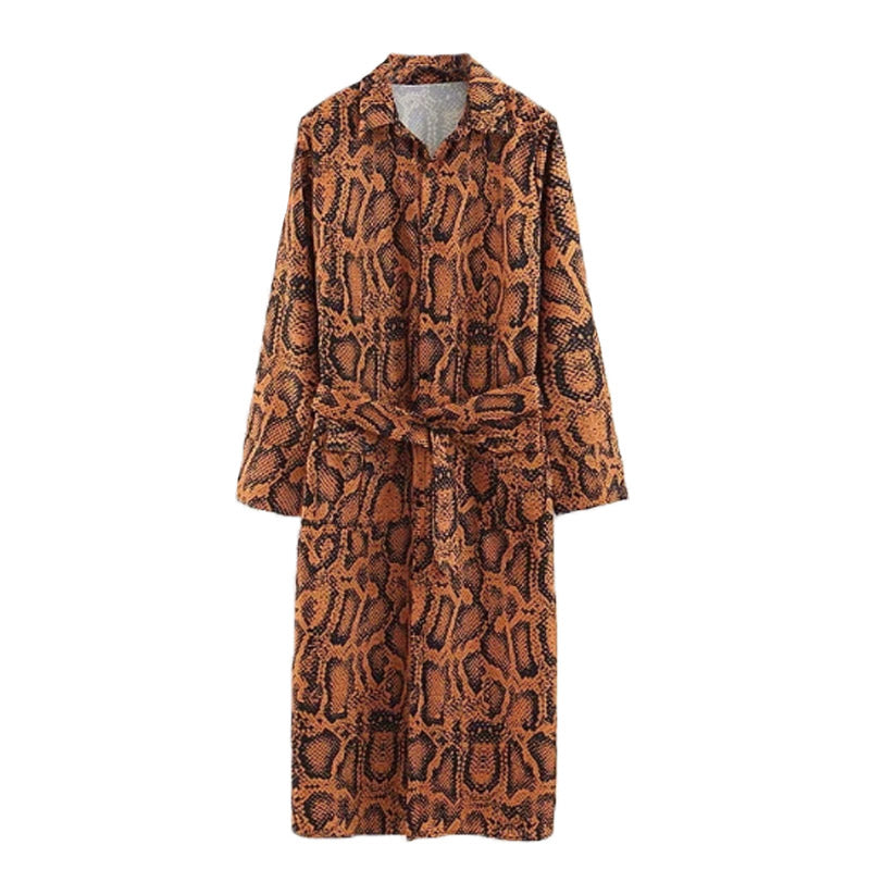 Brown Snake Print Shirt Dress - buyandpossess