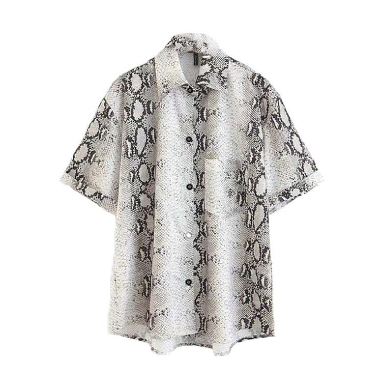 Snake Print Short Sleeve Blouse