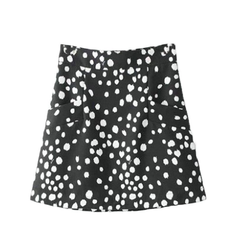 Black And White Spotted Mini Skirt