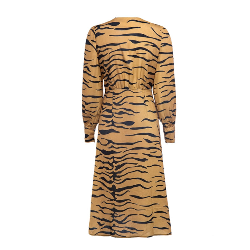 Tiger Print Long Sleeve Dress