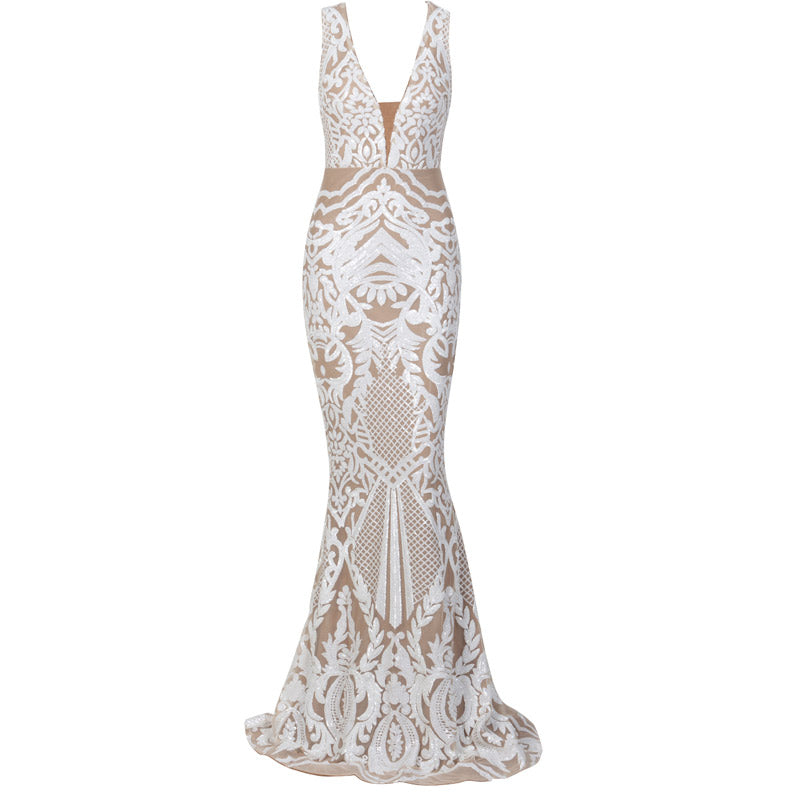 White Sequin Floral Evening Dress