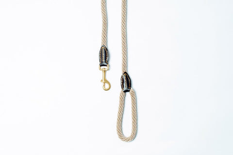 Mog And Bone Natural Leather And Brass Rope Lead