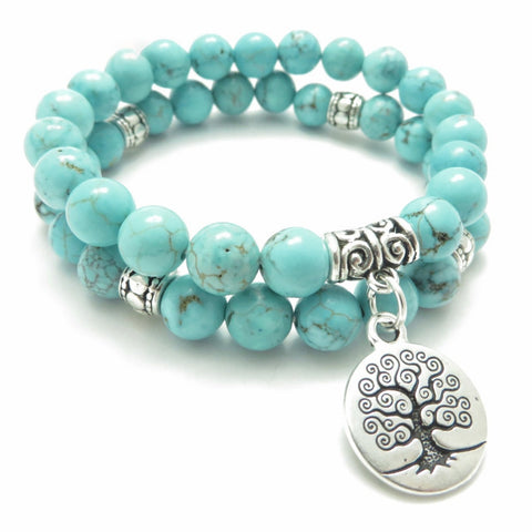 Tree of Life Yoga Mala Bead Bracelet - Healing Protection - Meditation