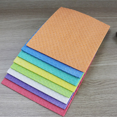 10 Pcs Cellulose Sponge + Bamboo Fiber Dishcloths for Washing