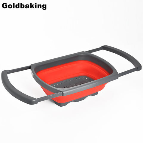 Collapsible Over the Sink Silicone Colander/Strainer With Handles