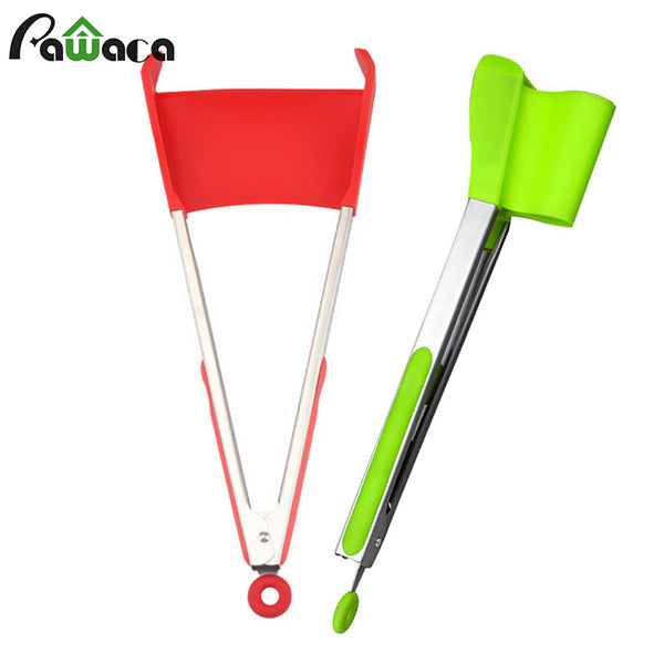 2 in 1 Kitchen Spatula and Tongs Non-Stick Heat Resistant Silicone