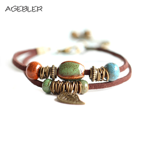 Ceramic and Leather Bracelets Unisex with Many Color Combinations
