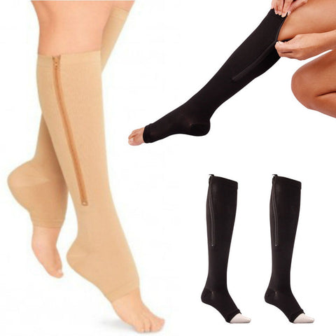 Women Zipper Compression Socks Support Knee Socks Open Toe