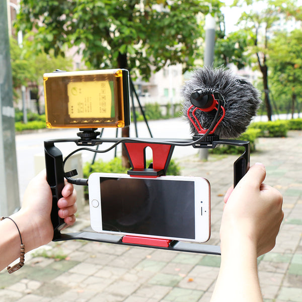 Handheld Video Stabilizer Grip for Smart phone Video Light Microphone