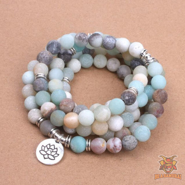 Bracelet / Collier Mala de Méditation Bouddhiste  en Pierres d'Amazonite ''Affection & Ouverture du Coeur''