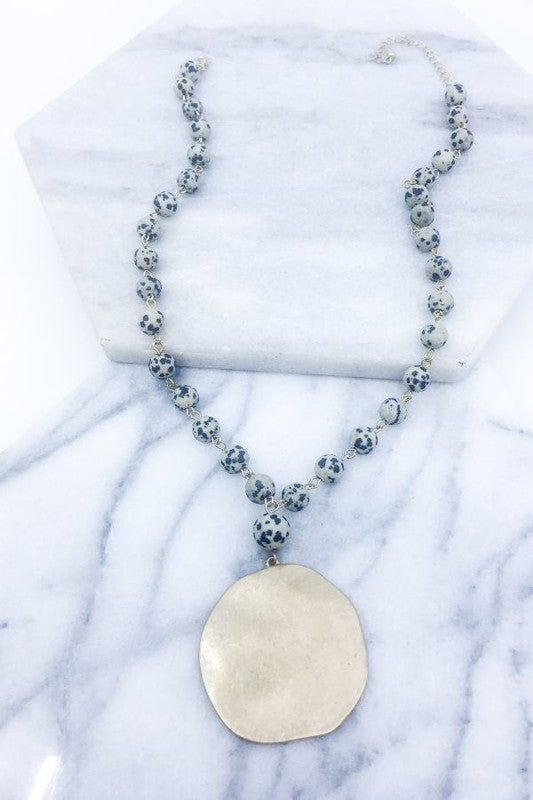 Hammered Medallion Stone Beaded Necklace - Dalmation