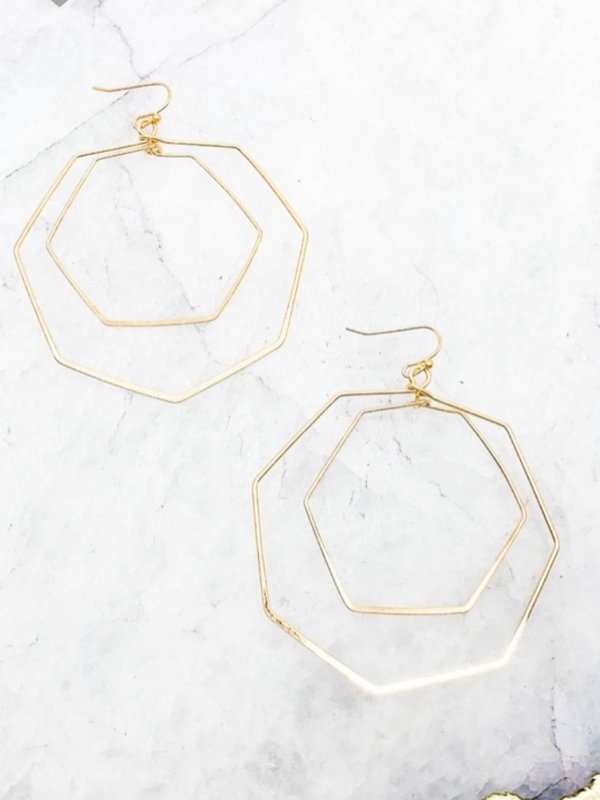 Mia Hexagon Earrings - Worn Gold