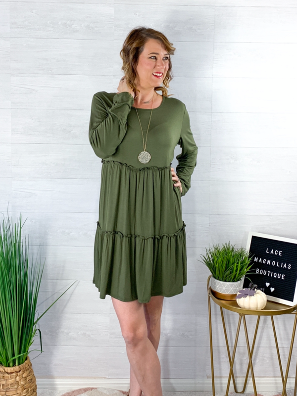 Dance All Night Dress - Olive