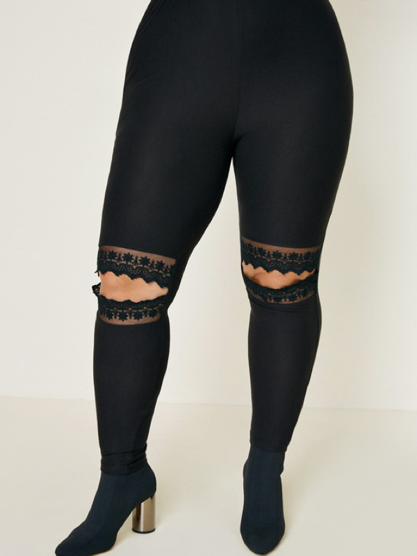 Lace Cut-Out Leggings - Black