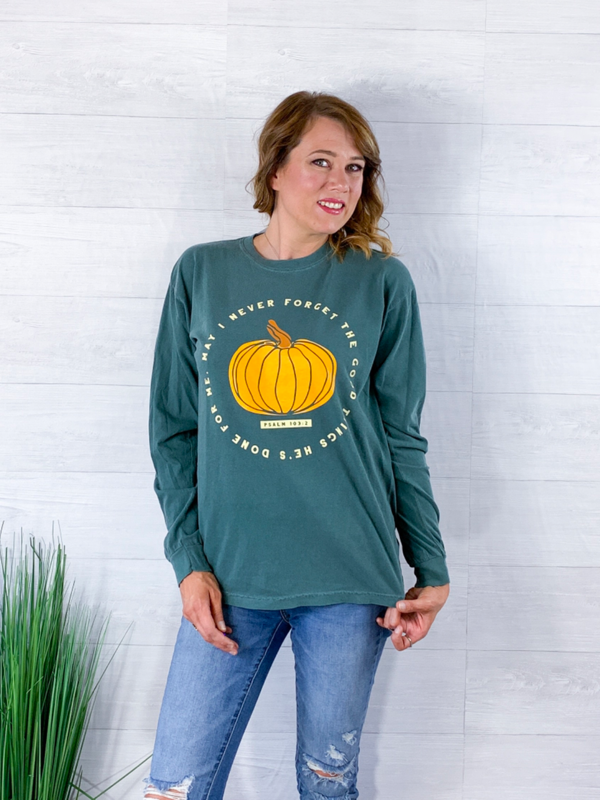 Never Forget Pumpkin Top - Olive