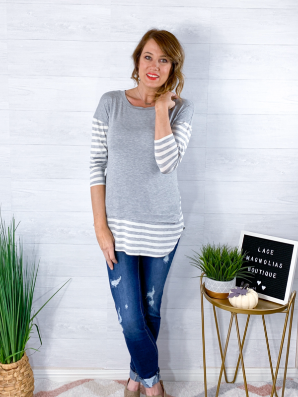 Twice The Delight Top - Gray