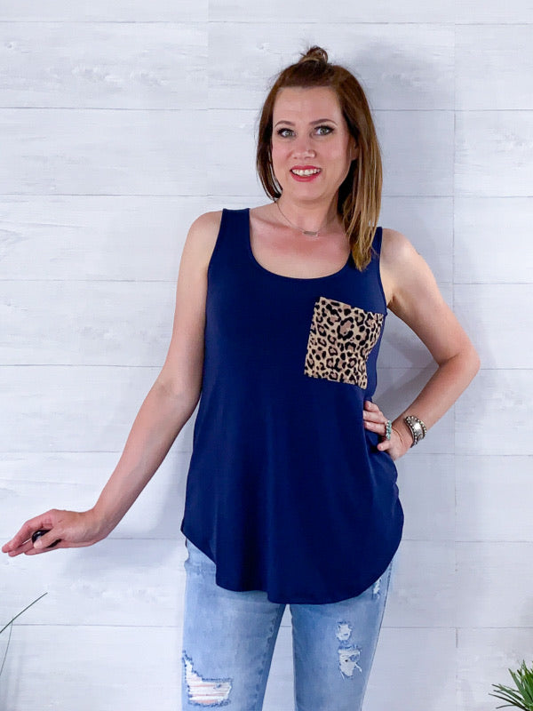 On The Waterfront Tank Top - Navy