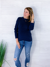 Crisp Air Waffle Knit Sweater - Navy