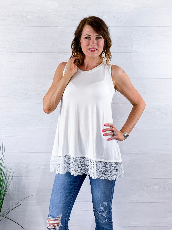 Sweet Lace Tank Top - White