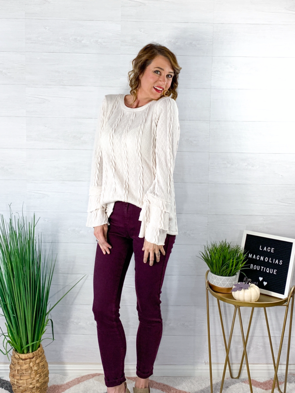 All Eyes On Me Ruffle Tier Sleeve Sweater - Ivory