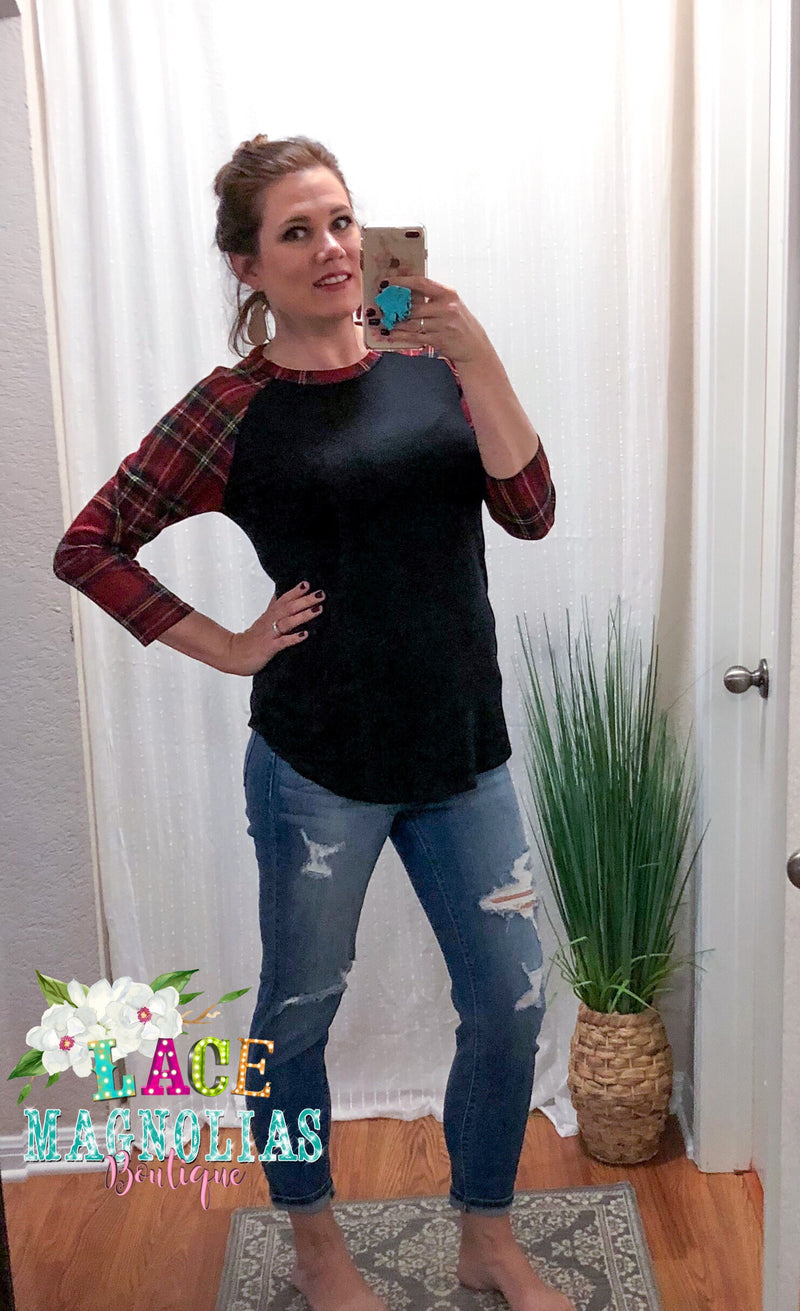 Harvest Moon Top - Black with Plaid Sleeves