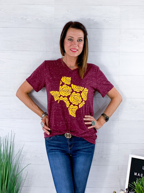 Texas Rose Tee - Burgundy
