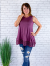 Sweet Lace Tank Top - Eggplant