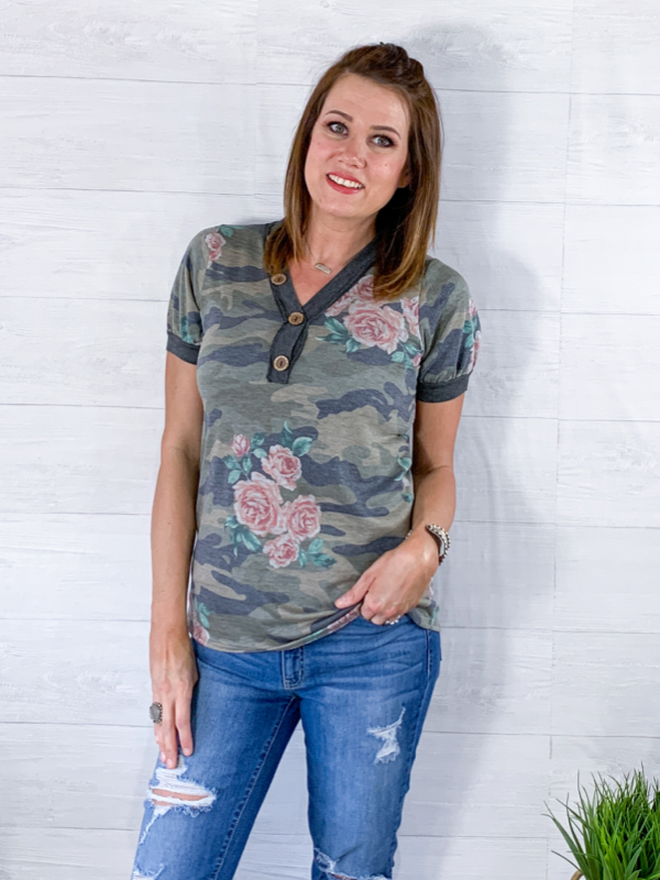 Craving Adventure Top - Camo/Floral