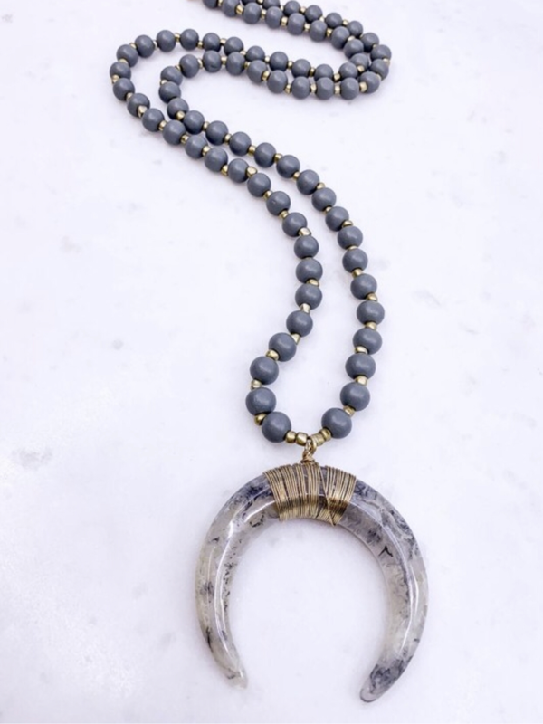 Horn Pendant Necklace- Grey