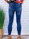 Zoe Lace Patch Skinny Jeans - Medium Wash