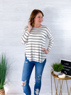 Walking The Town Striped Top - BLack/White