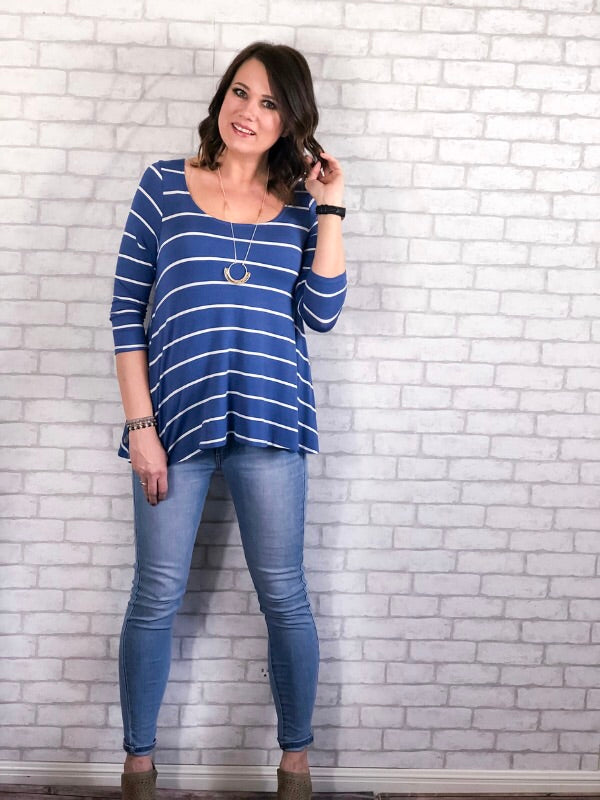 Stripe Of Love - Denim Blue