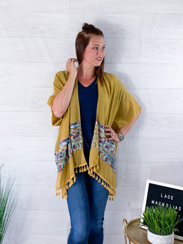 Dancing All Night Long Kimono - Mustard