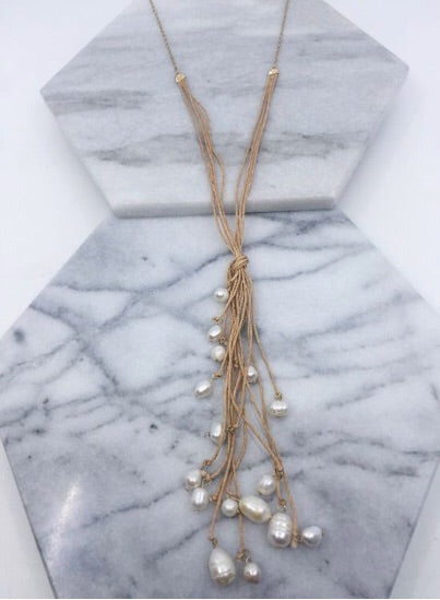 Fresh Water Pearl Tassel Cord Necklace
