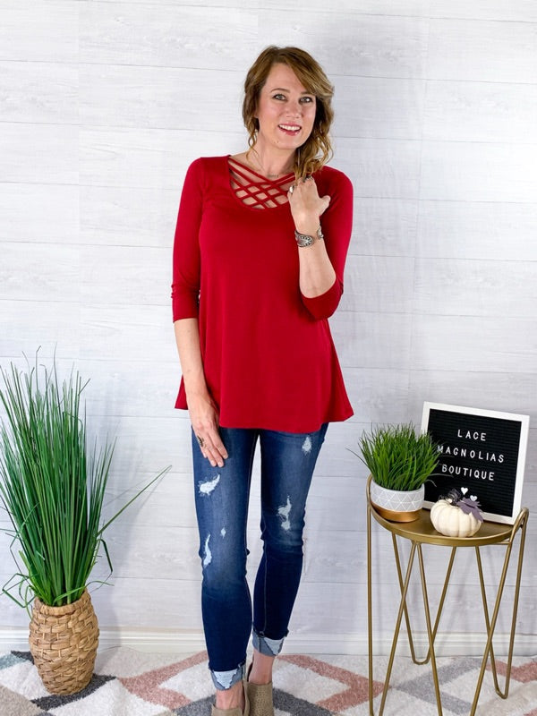 Basic Fall Criss Cross Top - Red