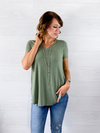 Basic Vneck Tee - Light Olive